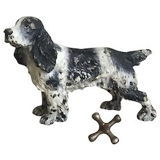 Wonderful Old Vienna Austrian Bronze Springer Spaniel Dog Paperweight Figurine
