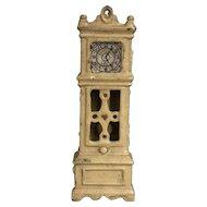 Wonderful Old Kilgore Cast Iron Dollhouse Yellow Grandfather Clock Miniature Toy