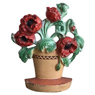 Beautiful Old Hubley Poppies in Clay Pot #330 Flower Doorstop