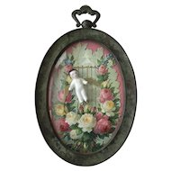 Wonderful Antique Frozen Charlotte Shadow Box Frame Diecut Roses