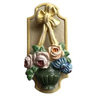 Old Hubley Cast Iron Flower Basket Door Knocker Roses, Bow