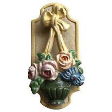 Old Hubley Cast Iron Flower Basket Door Knocker Roses, Bow