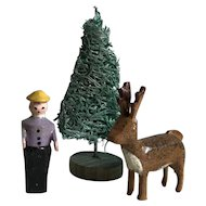 Sweet Old Miniature German Erzgebirge Wood Gentleman Farmer, Reindeer and Tree Putz Figurines