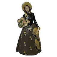 Wonderful Old RARE Cast Iron Doorstop Woman With Flowers and Shawl