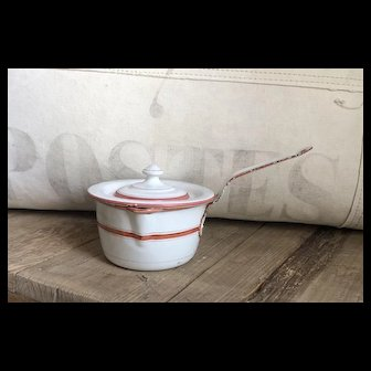 Wonderful Antique Handpainted French Enamelware Saucepan with Lid Red, White Stripe