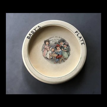 Charming Antique Roseville Nursery Rhyme Rolled Edge BABY'S PLATE