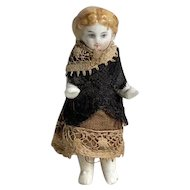 Wonderful Antique Miniature Dressed German Frozen Charlotte China Doll