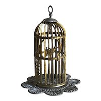 Charming Antique German Soft Metal Miniature Birdcage with Bird