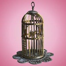 Charming Antique German Soft Metal Miniature Birdcage with Bird