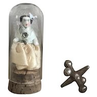 Sweetest Tiny Dressed Antique German Frozen Charlotte Doll in Glass Tube