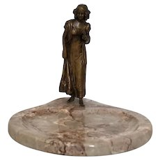 Beautiful Antique Art Nouveau Bronze and Marble Figural Woman Vanity Tray