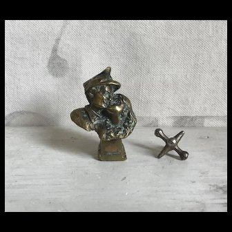 Wonderful Antique Brass Kissing Couple Wax Seal Miniature Sculpture