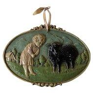 "Adorable 1930's Syroco Wood Nursery Rhyme Plaque ""Ba Ba Black Sheep"""