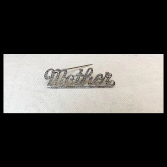 """Beautiful Vintage Sterling Silver and Marcasite """"Mother"""" Pin"""