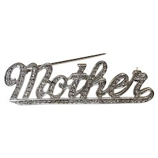 "Beautiful Vintage Sterling Silver and Marcasite ""Mother"" Pin"