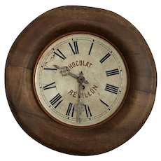 Gorgeous Old 1920's Wood & Tin French Advertising Wall Clock CHOCOLAT REVILLON