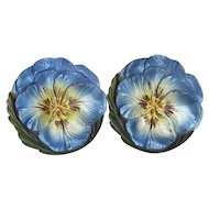 Beautiful Old Colorful Cast Iron Pansy Flowers Curtain Tie Backs