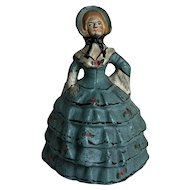 Sweetest Antique Cast Iron Little Colonial Lady Doorstop Roses