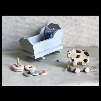 Trio of Artisan 1:12 Dollhouse Miniatures Cradle, Cow and Stacking Ring Toy