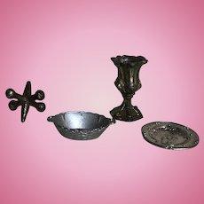 Antique 1:12 Scale Miniature Dollhouse Lot of Kitchen Items
