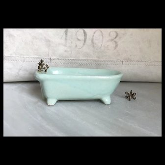 Charming Old Glazed Porcelain Miniature Dollhouse Bathtub