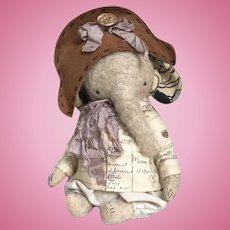 "Wonderful OOAK Mohair Teddy Elephant ""Little Hero"" by Sasha Pokrass"