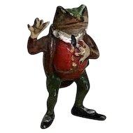 Wonderful Old Miniature Jeremy Fisher Frog Vienna Austrian Bronze