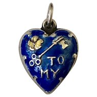 Sweet Vintage Sterling Silver and Enamel Puffy Heart Charm