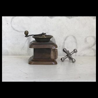 Antique Brass & Copper Miniature Figural Coffee Grinder Sewing Tape Measure