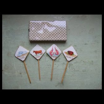 Fabulous Set of 4 Antique Hand-Painted Celluloid Sandwich Markers: Egg, Shrimp, Beef and Tongue Circa 1920's-1930's