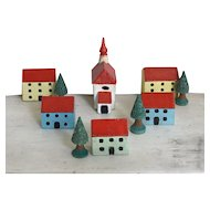 Charming Old Miniature German Erzgebirge Wood Village Church, Houses, Trees