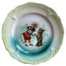 Charming Antique Advertising Porcelain Buster Brown & Tige Children's Plate