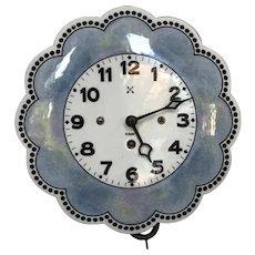 Beautiful Old German Enamel Pendulum 8 Day Wall Clock Working with Key