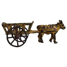 Charming Antique Cast Iron Ox Cart Toy