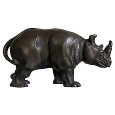 Great Antique Cast Iron Arcade Figural Rhino Still Bank
