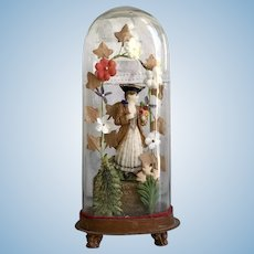 Antique Victorian Wax Figure of a Girl in Glass Dome Millinery Flower Garland Arbor