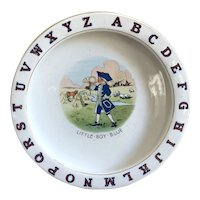 Charming Antique Porcelain ABC Alphabet Baby Dish LITTLE BOY BLUE