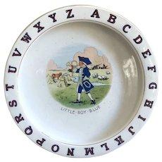 Charming Antique Porcelain ABC Alphabet Baby Dish LITTLE BOY BLUE