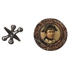 Wonderful Antique Celluloid and Metal Napoleon Button