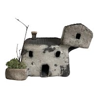 Wonderful Handmade Raku Ceramic House with Lichen