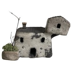 Wonderful Handmade Raku Ceramic House with Lichen