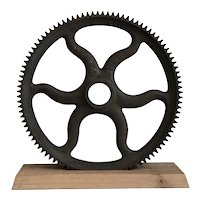 Antique Industrial Cast Iron Gear, Decorative Machine Age Farm Factory Metal Wheel