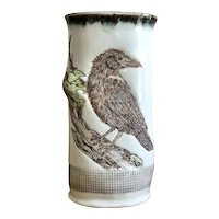 Wonderful Handmade, Hand Painted Ceramic Crow Vase by Indigo Bird Studio
