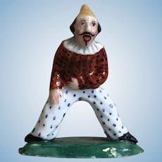 Antique German Porcelain Miniature  Punchinello Jester Clown Figurine Doll