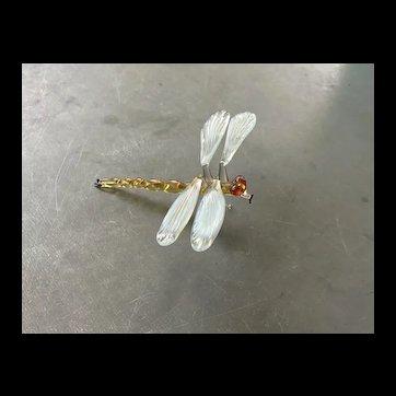 Beautiful Handmade Art Glass Dragonfly Sculpture