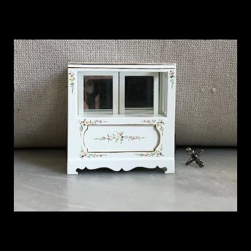 Bespaq 1/12th Scale Miniature Dollhouse Mirrored Back Display Cabinet Flowers