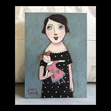 Charming Original Acrylic Primitive Painting Girl & Doll by Sari Azaria