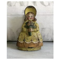 Great Old Cast Iron Girl in Bonnet Holding Flowers Doorstop Lamp Base