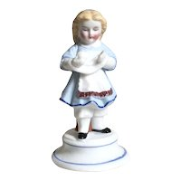 Gorgeous Antique Porcelain Figurine Girl in Snood Winding Yarn