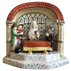 """Antique Staffordshire """"The New Marriage Act"""" Vignette Scene"""